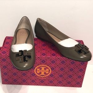 Tory Burch Brown Fango Lowell Logo Leather Flats